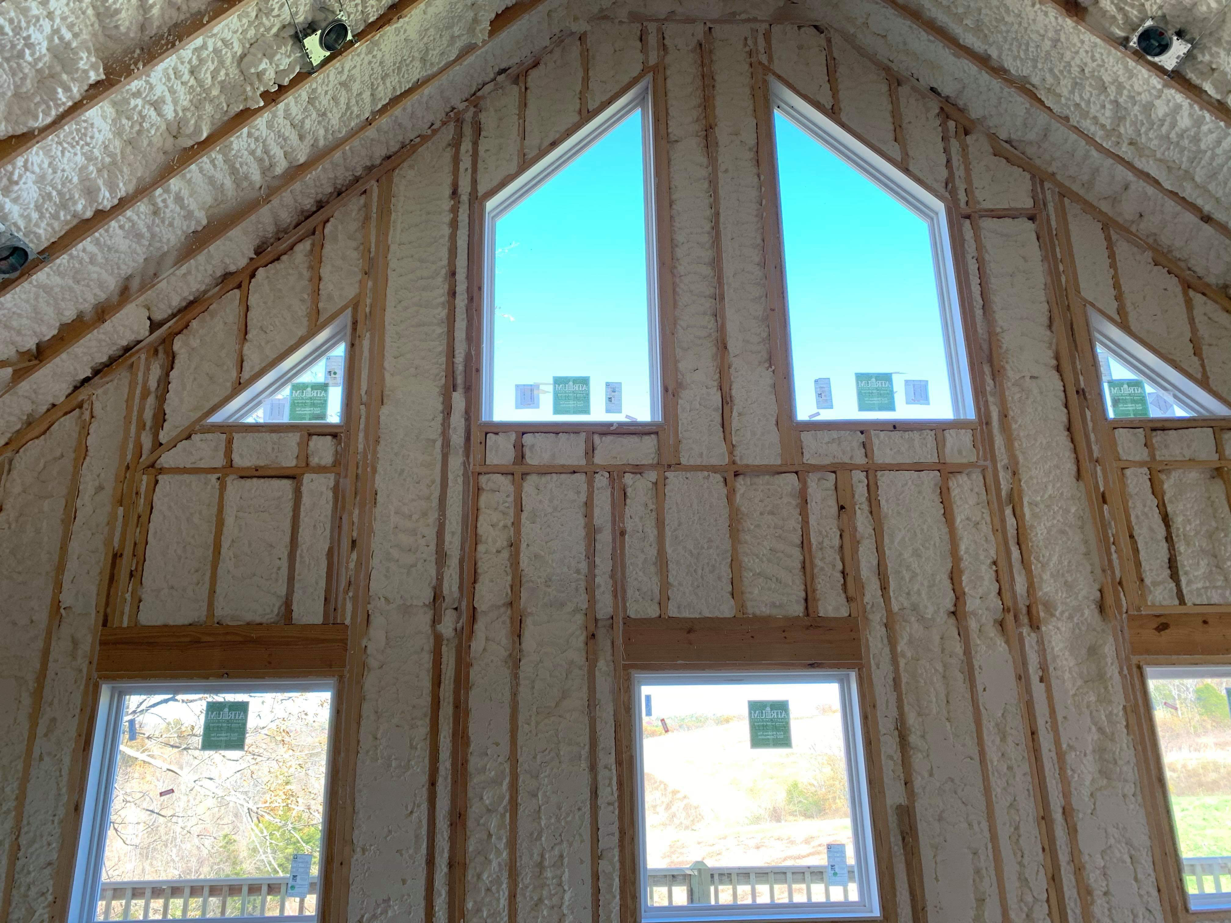 Walls and windows with open cell insulation
