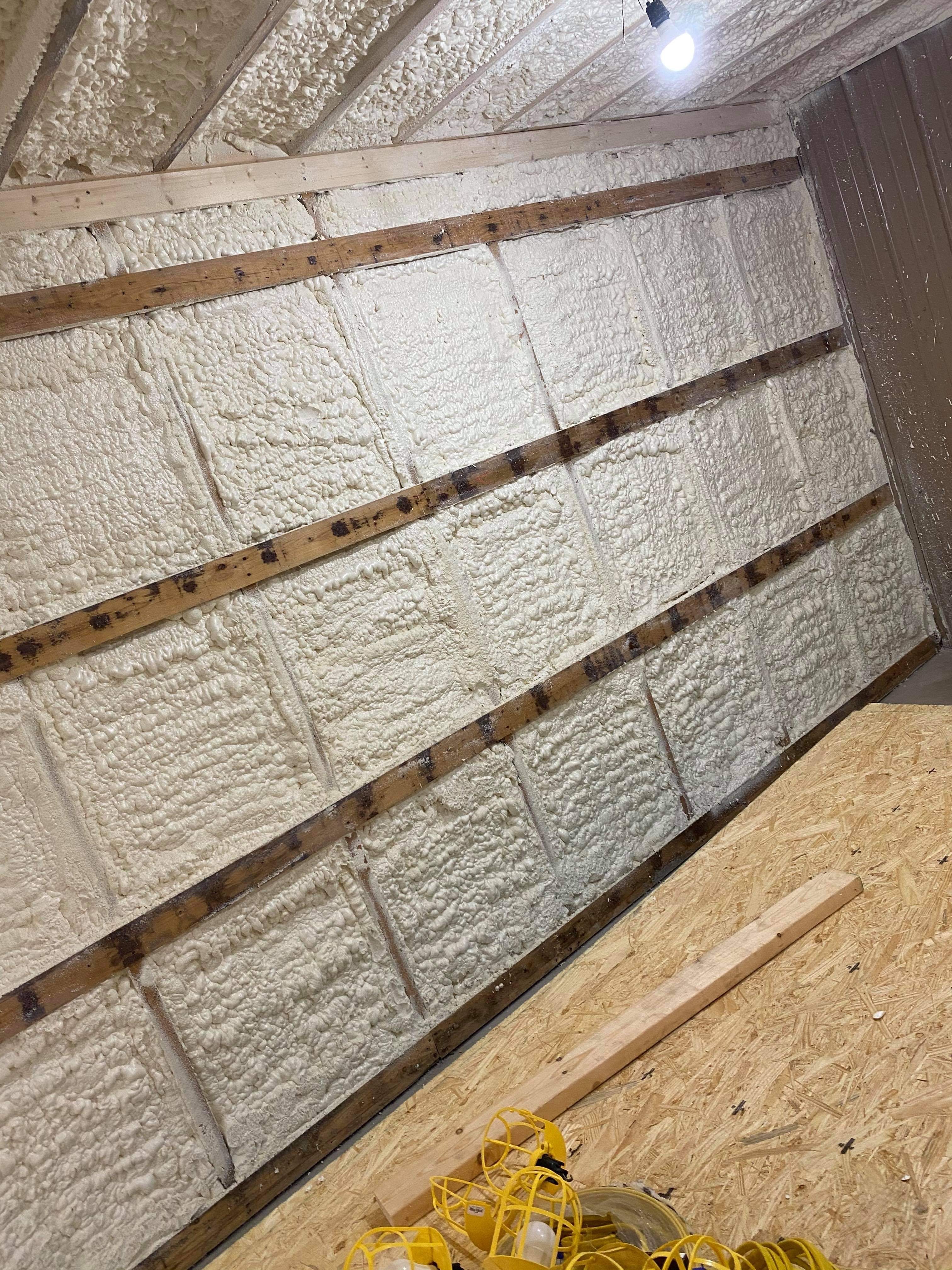 Metal wall after insulation
