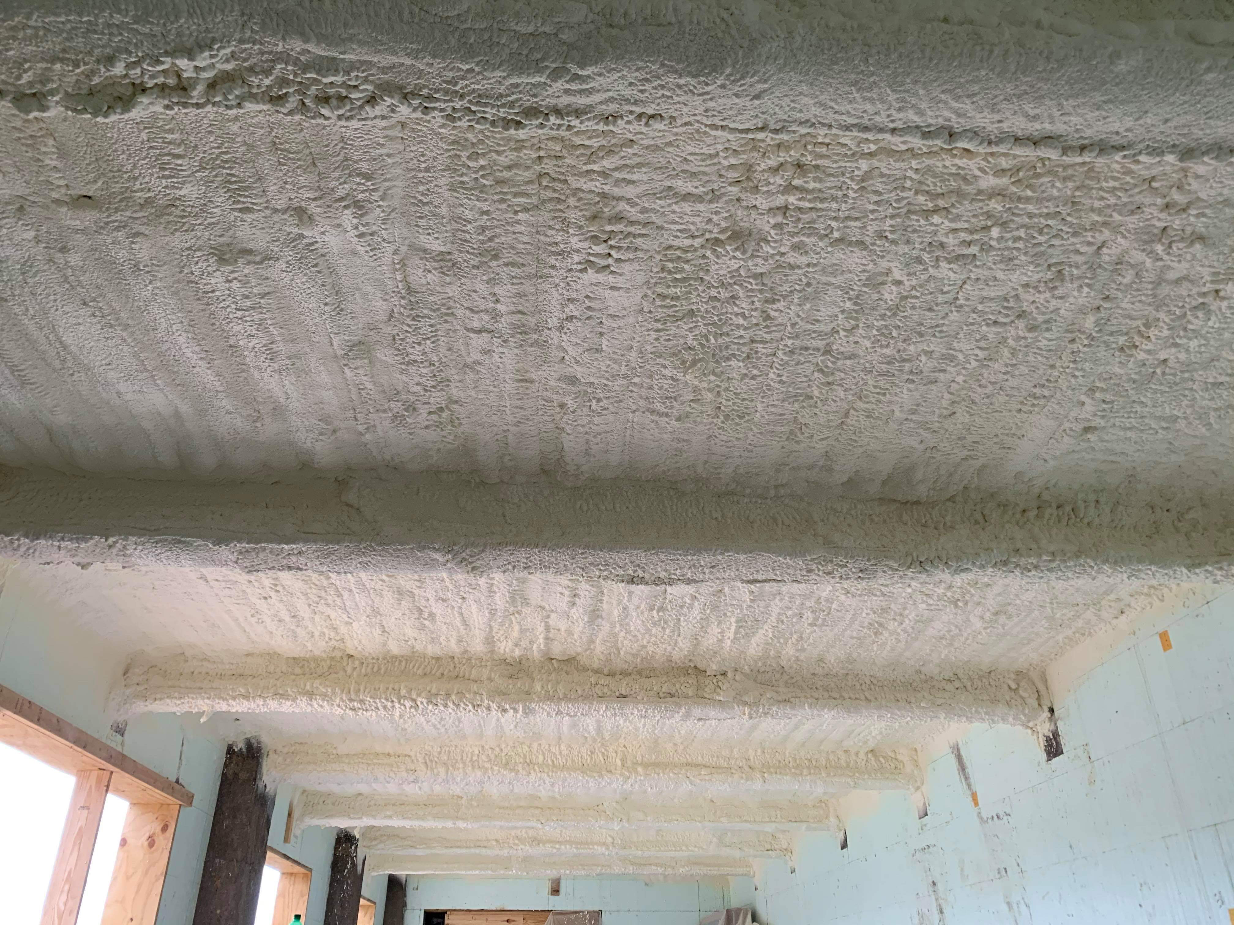 Span of ceiling after insulation