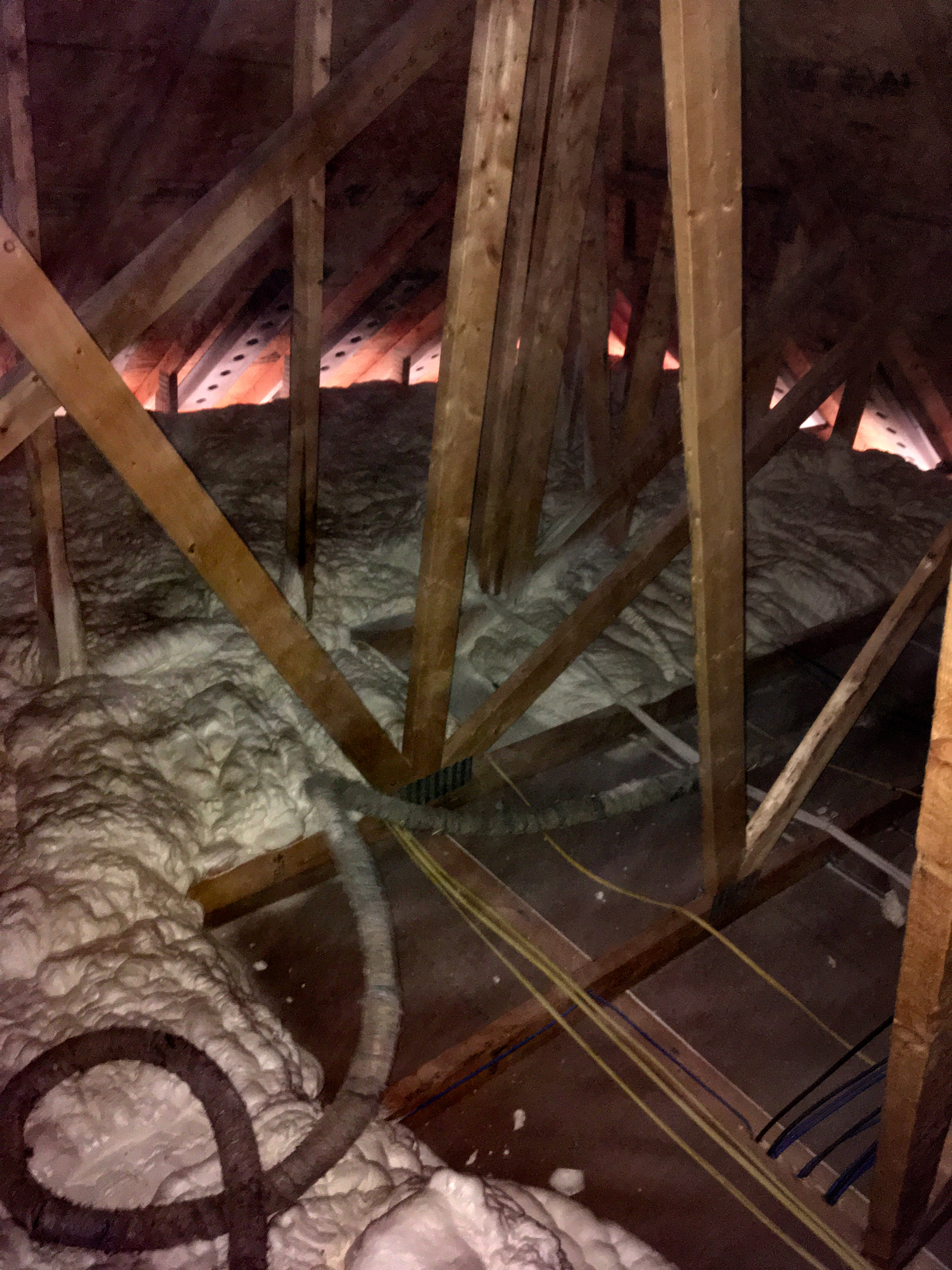Attic after foam insulation